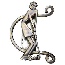Vintage Leonore Doskow Sterling Silver Lady Golfer Brooch Signed
