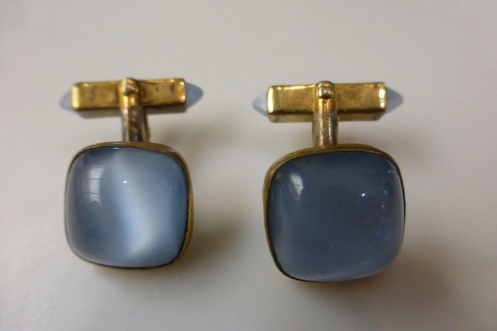53cf956e1a99 Early 1940's Opalescent Stone Cufflinks & Tie Bar Clasp Set by Swank ...