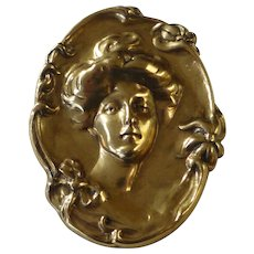 Vintage Gold Tone Art Nouveau Styled High Relief Lady Medallion Pin