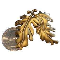 Vintage Danecraft Signed Double Oak Leaf Pin