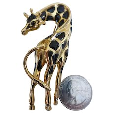 1980s Fernando Originals Big Giraffe Brooch Gold Tone & Black Enamel 3 inches