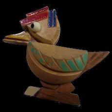 Vintage Carved Wood Sailor Duck Pin