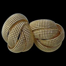 Beautiful Signed Norma Jean Large Textured Woven Gold Tone Hoop Twist Earrings