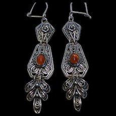 Sterling Silver 'Dancing' Carnelian Filigree Dangle Earrings