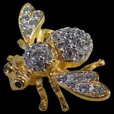 Joan Rivers Bumble Bee Brooch Gold Tone Crystal Rhinestones