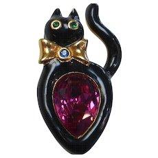 Swarovski Black Enamel Cat Pink Crystal Figural Brooch