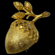 Vintage Mamselle Signed Gold Tone Acorn Brooch