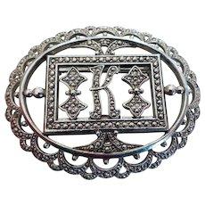 Vintage Miriam Haskell Cut Steel Marcasite Monogram or Initial Pin Brooch