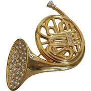Vintage Kenneth Jay Lane French Horn Brooch Pin