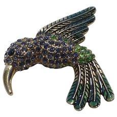 Vintage Bejeweled Hummingbird Pin Brooch Crystal Rhinestones & Enamel