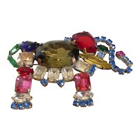 Fabulous Large Bejeweled Multi-Color Crystal Rhinestone Elephant Brooch