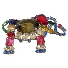 Fabulous Large Bejeweled Multi-Color Crystal Rhinestone Elephant Brooch