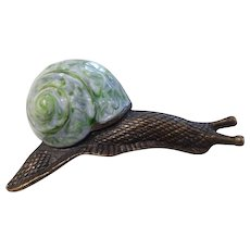 Vintage Enameled Snail Pin France
