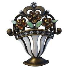 Vintage French Enameled Deco Styled Flowers in Vase Pin Brooch w Crystal Rhinestones