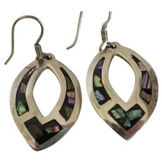 Vintage Taxco Sterling Silver & Abalone Dangle Earrings Mexico