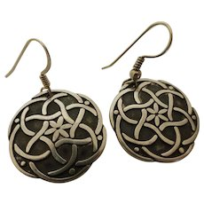 Vintage Sterling Silver Oxidized Celtic Knot Dangle Earrings Signed