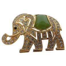 Monet Signed Elephant Brooch Pin w Rhinestones & Faux Jade
