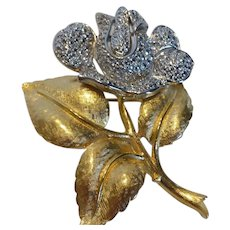 Stunning TRIFARI Large Gold & Silver Tone Rose Flower Brooch