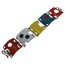 Vintage Fab Mid-Century Modernist Enamel Panel Bracelet