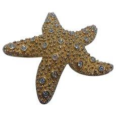 Vintage Swarovski Crystal Starfish Brooch Signed