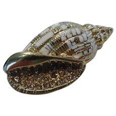 ST JOHN Designer Pin Brooch Conch Shell w Enamel and Topaz Crystal Rhinestones