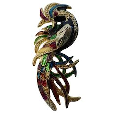 Vintage Enamel Rooster Brooch Pin Figural Richly Colored 3″