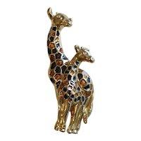 AFJ Enameled Double Giraffe Brooch Pin