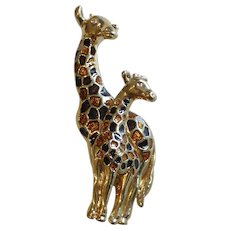 AFJ Enameled Double Giraffe Brooch Pin