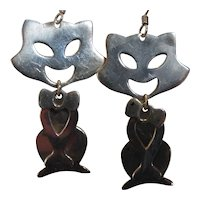 Vintage Sterling Silver Articulated Cat Earrings