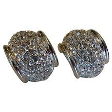 Signed Swarovski Crystal Encrusted Semi-Hoop Earrings