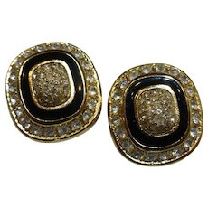 Christian Dior Signed Earrings Dazzling Crystals with Black Enamel