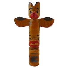 Vintage Authentic Native Alaskan Carved Wood Totem Pole Souvenir Pin Brooch