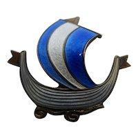 Vintage Signed Aksel Holmsen Sterling & Guilloche Enamel Viking Ship Boat Pin Brooch.