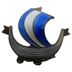 Vintage Signed Aksel Holmsen Sterling & Guilloche Enamel Viking Ship Boat Pin Brooch.