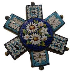 Gorgeous Vintage Micro Mosaic Brooch Pin Italy