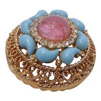 Stunning Vintage Art Glass & Crystal Rhinestone Filigree Brooch