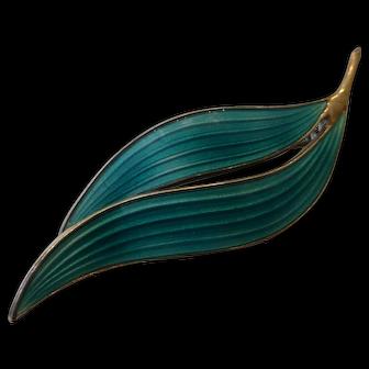 Aksel Holmsen Guilloche Enamel on Sterling Silver Modernist Leaf Brooch Norway