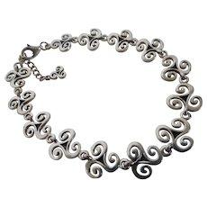 Vintage Sterling Silver Curly Scroll Form Link Bracelet