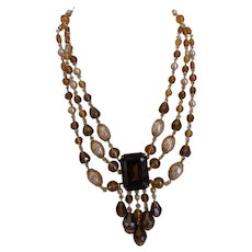 Gorgeous Vintage 1960s West Germany Multi Strand Necklace