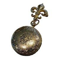 Vintage Fleur De Lis Watch Pin Locket Brooch w Photos