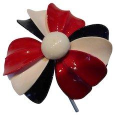 Vintage 1960's Enameled Metal Flower Brooch - Red, White & Blue