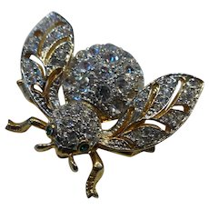 Bejeweled Bumble Bee Brooch with Crystal Rhinestones