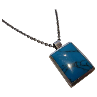 Vintage Mexico 950 Sterling Silver and Turquoise Pendant Necklace