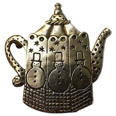 Vintage Mary Engelbreit ME INK Sterling Silver Teapot Pin Brooch
