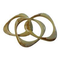 Vintage Marbled LuciteTriangle Boomerang Bangle Bracelets Set of 3