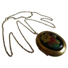 Vintage Locket Necklace with Dried Flower Painting