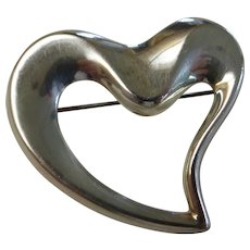 Vintage Sterling Silver Open Heart Pin Brooch