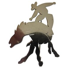 Signed Sterling Silver Cowboy on Horse Pin Brooch Riding Bucking Bronco