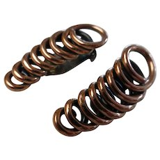 Vintage Renoir Modernist Copper Spiral Earrings Mid-Century Signed