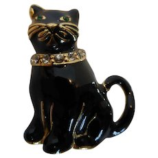 Vintage Monet Signed Black Enamel Cat Pin Brooch Rhinestone Eyes and Collar